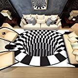 3D Area Rug,Rectangle Optical Illusion Carpet Trap Effect Floor Mat Shaggy Rug for Indoor Home Living Room Dorm 3D Vortex Rug Anti-Skid Black White Doormat-A 200x300cm(79x118inch)