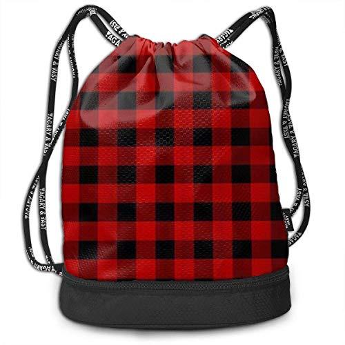 PmseK Turnbeutel Sportbeutel Kordelzug Rucksack, Red Black Buffalo Check Plaid Multifunctional Bundle Backpack Shoulder Bag for Men and Women