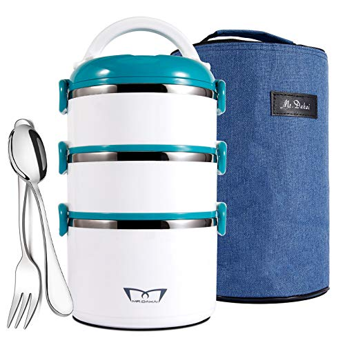 Mr.Dakai Stackable Stainless Steel Thermal Compartment Lunch/Snack Box, 3-Tier Insulated Bento Box/Food Storage Container with Lunch Bag & Fork Spoon, BPA free, for Adults, Men Women (White & Green)