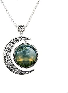 Summer Solstice Moon Necklace,Full Moon Necklace,Solstice Jewelry Wiccan Jewelry, Pagan Jewelry Beltane Glass Gift Necklace