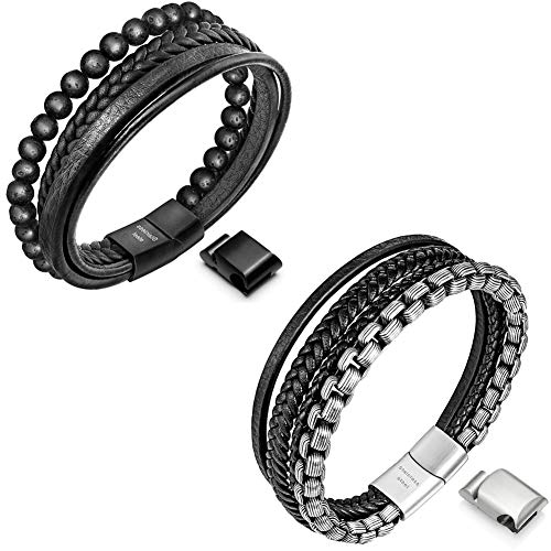 Speroto Mens bracelet,braided bracelet with magnetic clasp,black leather bracelet for men