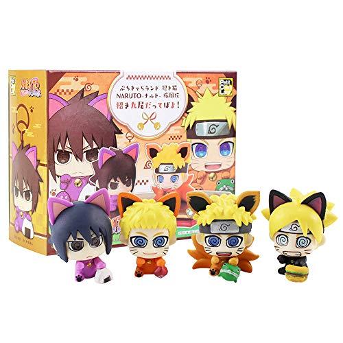 4 Stück/Set Naruto Boruto Uzumaki Sasuke Uchiha Figur Spielzeug Petit Chara Land Naruto Cosplay Katze Hund Tier Modell Puppen