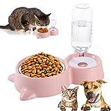 Pet Doppelschüssel,Futternapf,Katzennapf,Automatischer Wasserspender und Futternapf Pet Bowl...