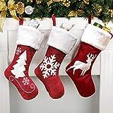 FREESOO Medias de Navidad, Juego de 3 Calcetines de Navidad Bolsa de Regalo Bordado de Muñeco Nieve Reno Papá Noel Mini Botas Bolsillo Calcetín Decoración para Año de Dulces Navidad Árbol Chimenea