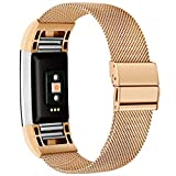 TECOOL Metal Replacement Bands for Fitbit Charge 2, Non-Magnet Stainless Steel Replacement Strap Compatible with Charge 2 for Women Men, (Large Size -Gold)