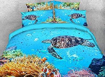 Qucover Sea Turtle Comforter Set 3D Ocean Life 1 Comforters with 2 Pillow Case for Boys Girls Kids Bedroom Light Blue Twin