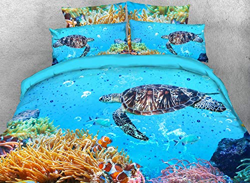 Qucover 3D Turtle Bedspreads Comforter Sets 3-Piece Lightweight Blue Sea Turquoise Bed-in-A-Bag Comforter Toddler Bedding Set for Boy Girl Queen/Double Size
