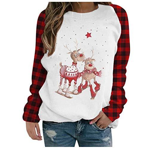 VEMOW Weihnachten Pullover Damen, Teenager Mädchen Weihnachtspulli Rudolph Rentier...