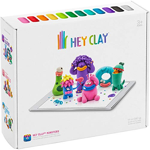 Hey Clay Monsters - Colorful Kids Modeling Air-Dry Clay, 18 Cans with Fun Interactive App Image