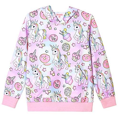 Sweatshirt for Girls Donuts Unicorn Hoodie Cotton Shirt Halloween Costume 10 11