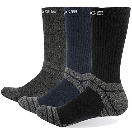 YUEDGE 3 Pares Hombre Algodon Montaña Trekking Senderismo Calcetines alto rendimiento medio Gruesos transpirable Calcetines Deportivos Ideales para deportes de Botas Trabajo L