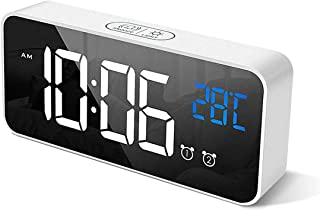 Digital Alarm Clock, with Large Led Temperature Display, Portable Alarm Clock Digital, Snooze Time, Four-Level Adjustable ...