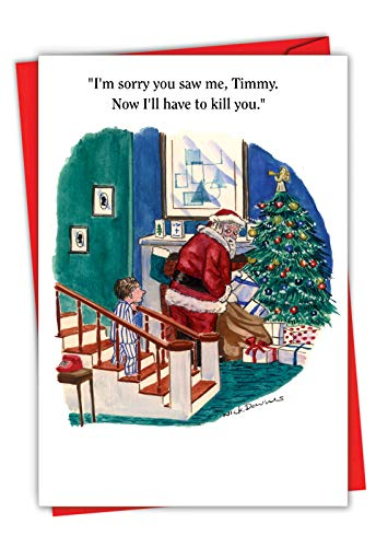 NobleWorks - Funny Season's Greetings Card for Christmas - Boy Catches Santa, Adult Humor Card for Men, Husband - I'm Sorry Timmy 1603