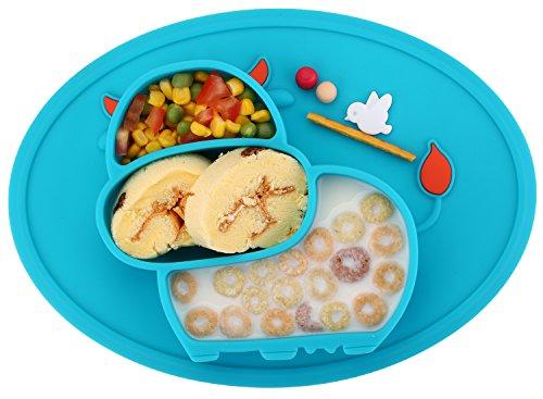 Qshare - Mini plato para bebés de silicona, 100% sin BPA y...