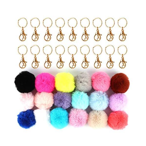 18 pcs Pom Poms Keychains Fluffy Pompoms Keychain Faux Fur Pompoms Keychain Artificial Fur Ball Keychain Faux Rabbit Fur Pompoms Fluffy Accessories Car Bag Charm Puff Ball Keyring (Mix Colors)