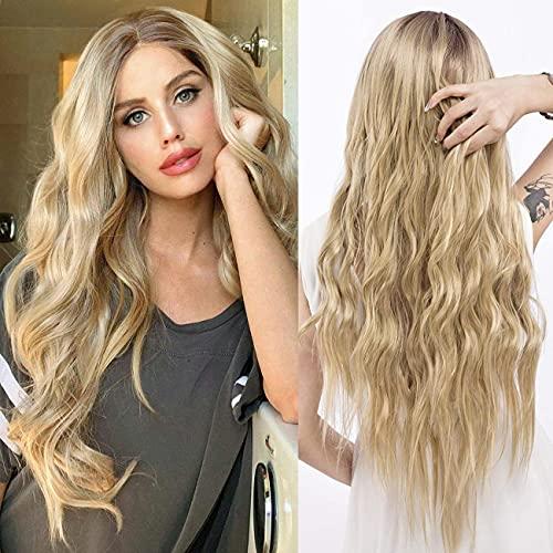 YEESHEDO Parrucca donna bionda lunga ondulata, parrucche capelli naturale lunghi ricci ondulati capelli blonde wig 26 pollici