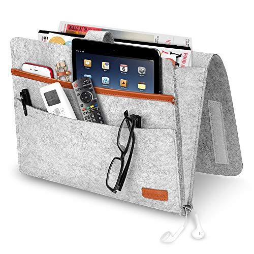 SIMBOOM Bett Organizer, Filz Betttasche Anti-Rutsch Nachttisch Tasche Sofa-Bett Hängeaufbewahrung für Buch, Zeitschriften, iPad, Handy, Fernbedienung -Hellgrau