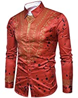 Cloudstyle Mens Dashiki Button Down Slim Fit African Ethnic Printed Long Sleeve Dress Shirt Red