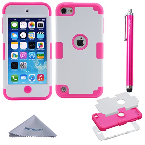 iPod Touch 7 Case, iPod Touch 6 Case, iPod Touch 5 Case, Wisdompro 3 in 1 Hybrid Soft Silicone and Hard PC Protective Cover for Apple iPod Touch 5th, 6th and 7th Generation - Hotpink and White