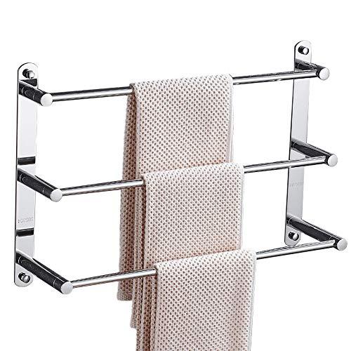 Handtuchhalter, 304 Edelstahl Gebürstet Handtuchstange, 60 cm Wand Badetuchhalter, Badezimmer Handtuchstange mit Regal 3 Stangen, Handtuchhaltern für Badezimmer Küchen Toilette