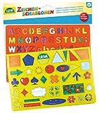 Lena 65774 - Zeichenschablonen Set Alphabet, Zahlen und Zeichen, Malset mit Farbvorlagen und 2...