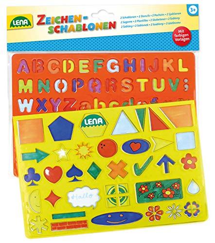 Lena 65774 - tekensjablonen set alfabet, cijfers en tekens, schilderset met kleursjablonen en 2 sjablonen van 26 x 19 cm met letters, cijfers, overtrekken en vormen, leerset voor kinderen vanaf 3 jaar
