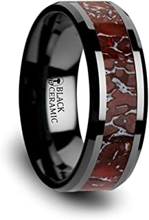 Thorsten Triassic Red and Grey Earthtones Dinosaur Bone Inlay on Black Ceramic Wedding Band Beveled Edged Ring 8mm from Roy Rose Jewelry