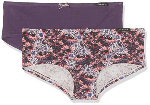 Skiny Mädchen Soft Garden Girls Panty 2er Pack Unterhose, Mehrfarbig (Grapegarden Selection 2193), (Herstellergröße: 140)
