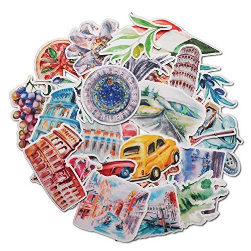 Navy Peony Reise-Aufkleber mit inspirierenden Italien, niedlich, wasserdicht, klein, ästhetische Abenteuer-Aufkleber für Wasserflaschen, Laptops, Sammelalben, 28 Stück