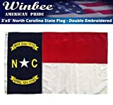 Winbee North Carolina State Flag - Premium Embroidered, Long Lasting 300D Nylon, Sewn Stripes and Brass Grommets, UV Protected, US North Carolina NC Flag