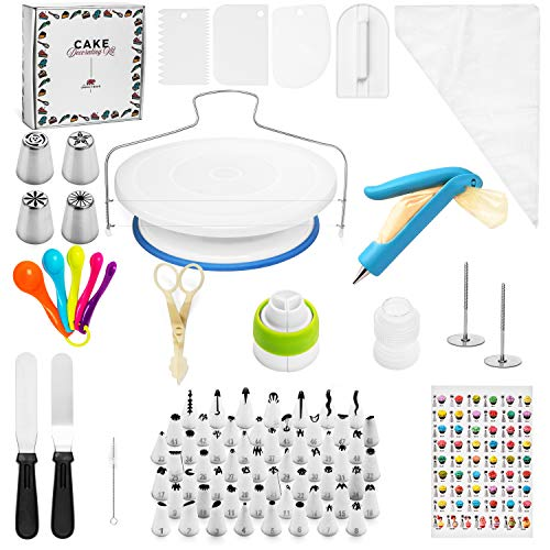 Cake Decorating Kit For Beginners - 100+ pc Cake Decorating Supplies Kit with Cake Turntable, Icing and Russian Tips with coupler, Leveler, Cake Decorator - Cake Decorating Tools For Beginners