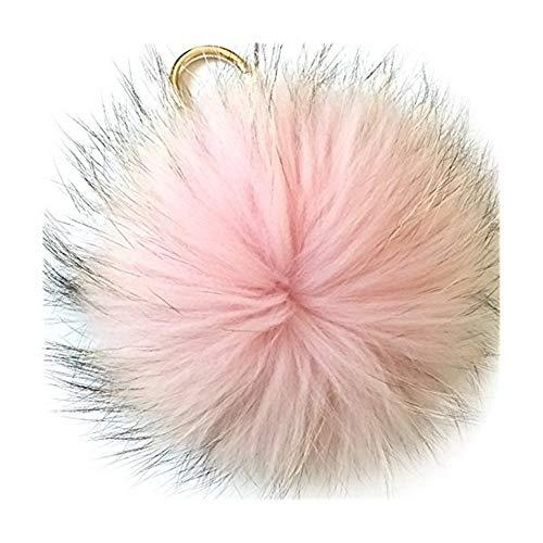 Damen Pom Pom Bommel Anhänger Taschenanhänger Schlüsselanhänger für Handtaschen, Rückspiegel im Auto (Rosa)