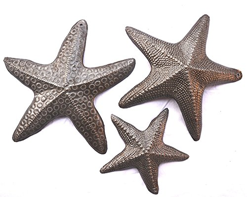 Starfish, Set of 3, Sea Life Nautical Home Decor, Recycled Wall Art 8x8 and 5x5 Inches, Haitian, Decorative, Plaque