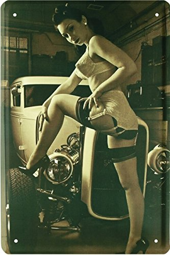 Nostalgie nice Straps Girl with Hot Rod 50´s Retro Style Car Auto 20x30 cm Blechschild 846