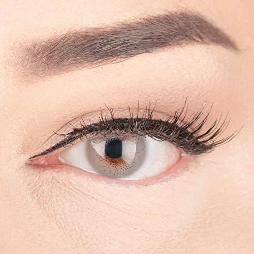 """Sehr stark deckende und natürliche graue Kontaktlinsen SILIKON COMFORT NEUHEIT farbig """"Lacey Gray"""" + Behälter von GLAMLENS - 1 Paar (2 Stück) - DIA 14.50 - ohne Stärke 0.00 Dioptrien"""