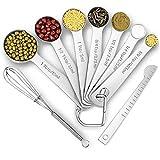 Juego de cucharas medidoras de 9 piezas, taza medidora de acero inoxidable, balanza de cocina, cucharaditas de cocina para hornear, herramienta de cocina de azúcar