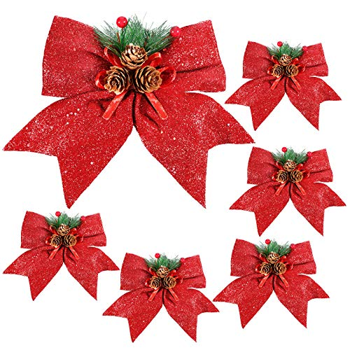 6 Pieces Christmas Glitter Decorative Bows Christmas Wreath Bows Red Ribbon Bows with Red Berries, Pine Cone and Pine Needles for Christmas Decor, Crafts, Wreath, Garland, Tree, Wrapping, 7 Inch