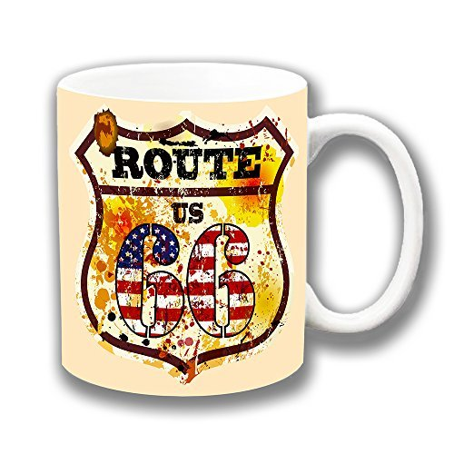 Cushions Corner Vintage Retro Route 66 Shield - Taza de café (cerámica)