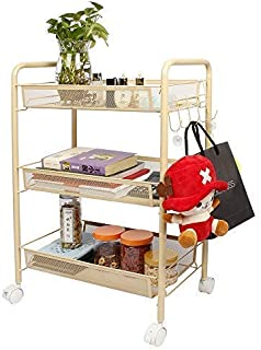 GBmall 3-Tier Metal Mesh Rolling Storage Shelf Cart and Organizer with 5 Hanging Hooks (Beige, 3-Tier)