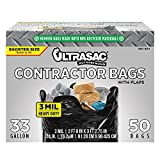 Ultrasac Contractor Trash Bags - (50 Pack/w Ties) - Heavy Duty 3 MIL Thick, 32