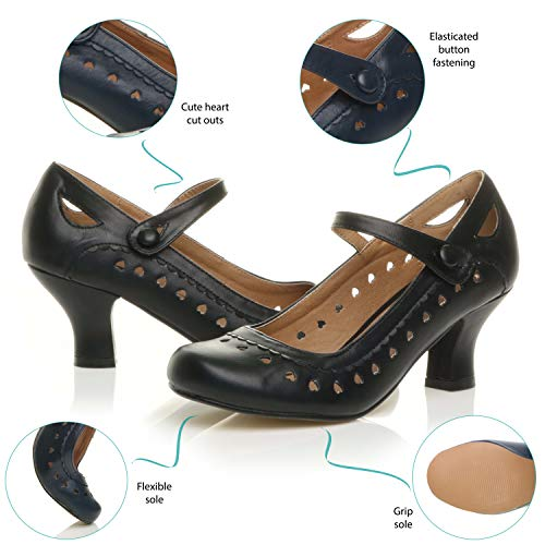 Herzmuster Mary Jane mittlerer Absatz Feinmachen Pumps Schuhe - 6