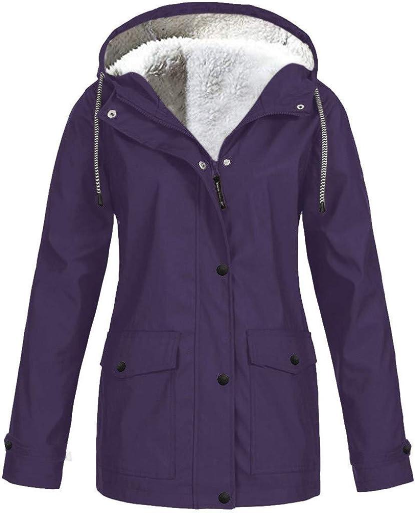 Women Solid Plush Thickening Jacket Outdoor Plus Size Hooded Raincoat Windproof Hoodies Outerwear Coat Overcoat