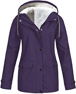 Lutos Women's Plus Size Fleece-Lined Windbreaker, Rain Jacket Waterproof Lightweight Outdoor Hooded Trench Coats