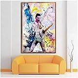 Freddie Mercury Queen Rock Band Legendario Pop Star Comic Poster e impresiones Pintura Arte Imágenes...