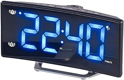 VORCOOL Proyección Despertador Reloj Despertador Digital Radio con Pantalla Grande Curvada Cargador USB Puerto Luces nocturnas