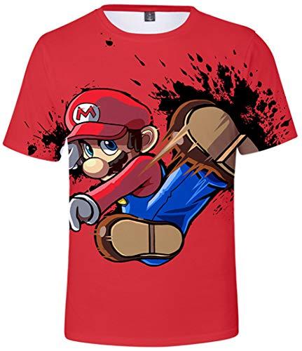Silver Basic Camisetas de Moda Super Mario Game Tops Impresión 3D Camisas Fan Tops Rojo-2 XXL…