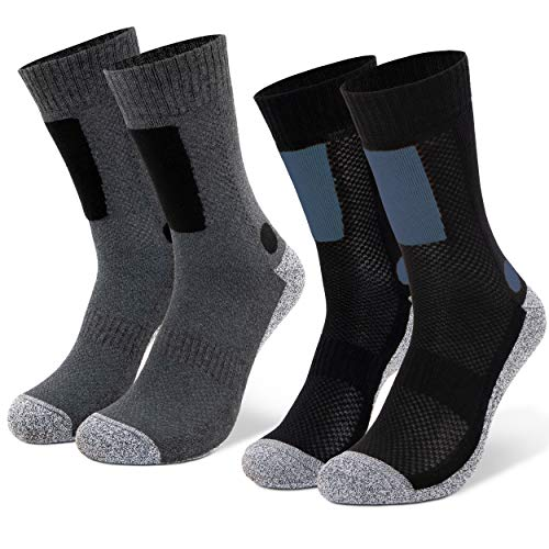 Occulto 2 bis 4 Paar Wandersocken für Herren, Trekking-Socken, Funktionssocken mit gepolsterter Sohle 2 Paar Blau-Anthra