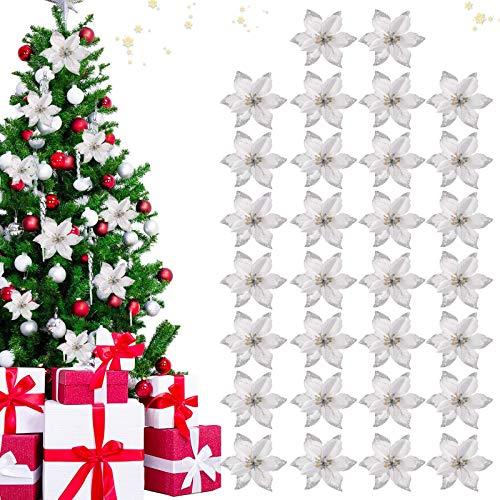 TaimeiMao 30Pcs Fiori di Natale, Poinsettia Decorazione per Albero di Natale, Ghirlanda di Natale, Fiori di Natale Ornamenti, Fiori di Natale Glitterati, Ghirlande Fai da Te Decorazioni (Argento)