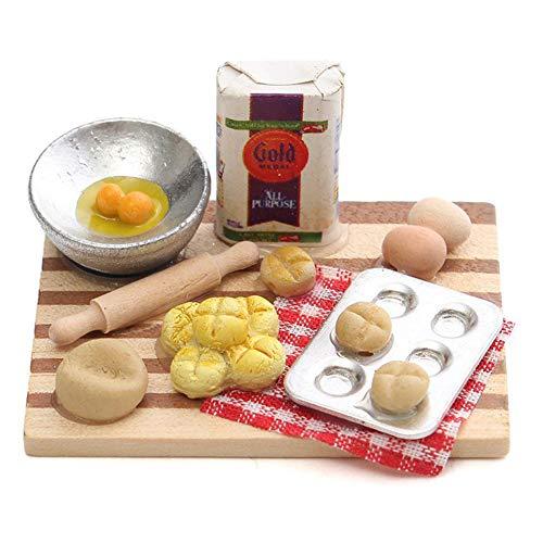 Gcroet 12.01 Puppenhaus Zubehör, Puppenstuben Mini Lebensmittel Eier Milch Brot Modell für Miniatur-Bäckerei Dekoration