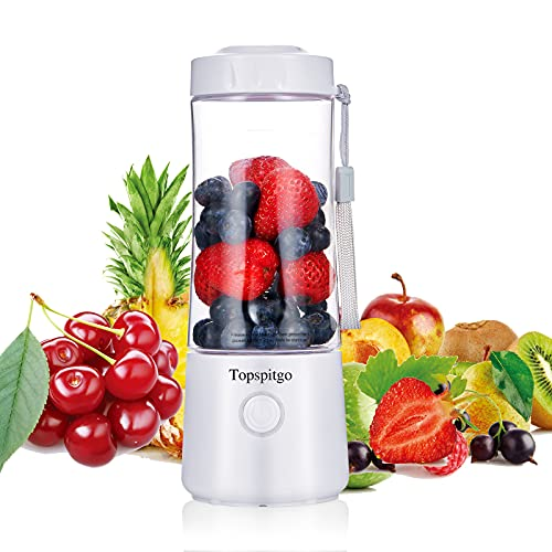 Small Personal Mini Blenders & Smoothie Maker | 400ml Food Processor Mixer Portable Mini USB Blender Fruit Juicer with 6 Blades for Baby Travel Fitness Drink Shakes (White)